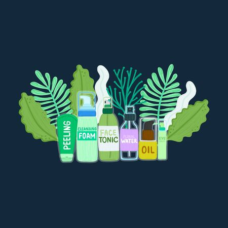 Organic or natural cosmetics. Many jars and bottles with cosmetic names in green foliage. Facial skin care. Beauty face. Can be used to design packaging bag, banner, brochure, poster, card. Vector