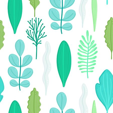 Seamless pattern with green leaves in flat style. Simple shapes. Herbarium. Nature elements. Repeating background for design of wallpaper, wrapping paper, textile, cover. Vector illustration, eps10 Ilustracja