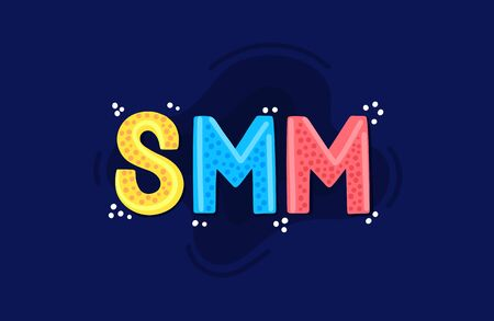 SMM. Social Media Marketing. Word of mouth. Reach and promotion among target audience. This can be used as book cover, advertising services, heading for article, informational post, banner. Vector 版權商用圖片 - 143902418