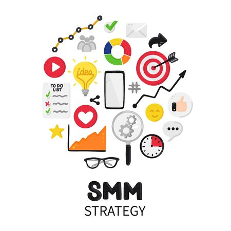 Smm strategy. Social Media Marketing. Reach and promotion among target audience. Concept is for banner, advertising, mailing list, website, training presentation for marketers, posts, poster. Vector 版權商用圖片 - 143902480