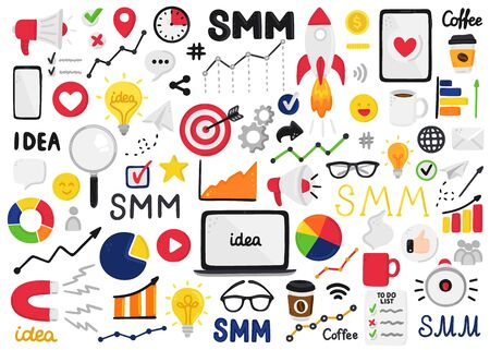 Vector set of smm elements. Social Media Marketing. Reach and promotion among target audience. Clip art is for banner, advertising, mailing list, website, training presentation for marketers, posts