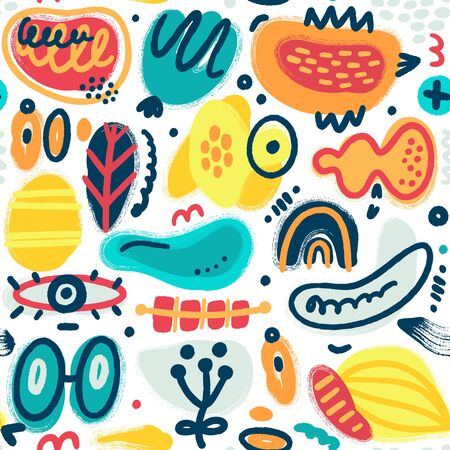 Vector seamless pattern with hand drawn different textured shapes and decorative elements. Folk style. Unique artistic design. Creative background. Wallpaper, textile, wrapping, print on clothes Vektoros illusztráció