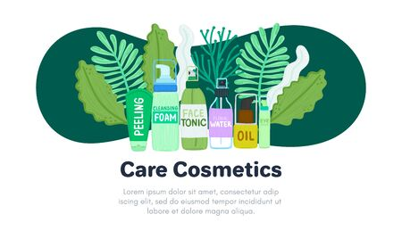 Organic or natural cosmetics. Many jars and bottles with cosmetic names. Facial skin care. Online store. Landing page template. Background is for banner, header, advertising, mailing list. Vector 写真素材 - 142969013