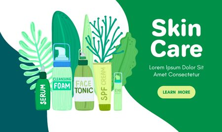 Organic or natural cosmetics. Many jars and bottles with cosmetic names. Facial skin care. Online store. Landing page template. Background is for banner, header, advertising, mailing list. Vector 写真素材 - 142969006