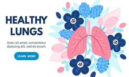 Vector healthy lungs on flowers. Background for label, advertisement of pulmonary medicine, landing or banner for pulmonology clinic, design for website or article about respiratory system health