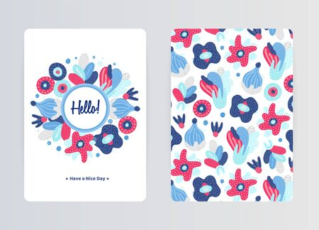 Cover design with floral pattern. Hand drawn creative flowers. Colorful artistic background with blossom. It can be used for invitation, card, cover book, notebook. Size A4.