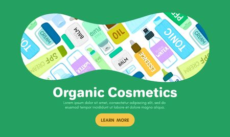 Organic or natural cosmetics. Many jars and bottles with cosmetic names. Facial skin care. Online store. Landing page template. Background is for banner, header, advertising, mailing list. Vector 写真素材 - 145322611