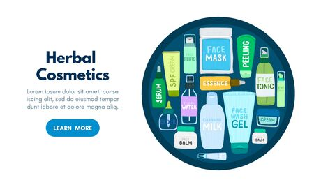 Organic or natural cosmetics. Many jars and bottles with cosmetic names. Facial skin care. Online store. Landing page template. Background is for banner, header, advertising, mailing list. Vector