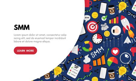 Vector background with smm elements. Social Media Marketing. Reach and promotion among target audience. Landing page, banner, mailing, presentation, header. Advertising for marketers, digital agency