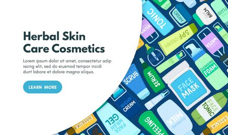 Organic or natural cosmetics. Many jars and bottles with cosmetic names. Facial skin care. Online store. Landing page template.
