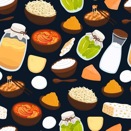 Vector seamless pattern with probiotic foods. Best sources of probiotics. Beneficial bacteria improve health. Background for label, header, brochure, menu, article about diet, healthy proper nutrition Illusztráció