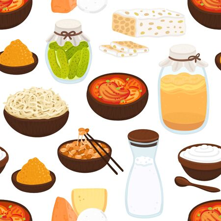 Vector seamless pattern with probiotic foods. Best sources of probiotics. Beneficial bacteria improve health. Background for label, header, brochure, menu, article about diet, healthy proper nutrition Illustration