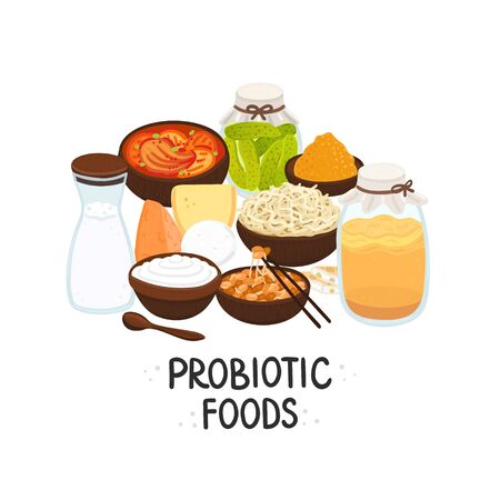 Vector probiotic foods. Best sources of probiotics. Beneficial bacteria improve health. Design is for label, brochure, menu, poster, advertising banner, article about diets, healthy proper nutrition