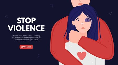 Woman with black eye in hands of man. Aggressor holds tightly scared girl. Concept is for crisis help center or for advocacy for womens rights. Landing page, poster, banner, brochure, . Vector, eps10