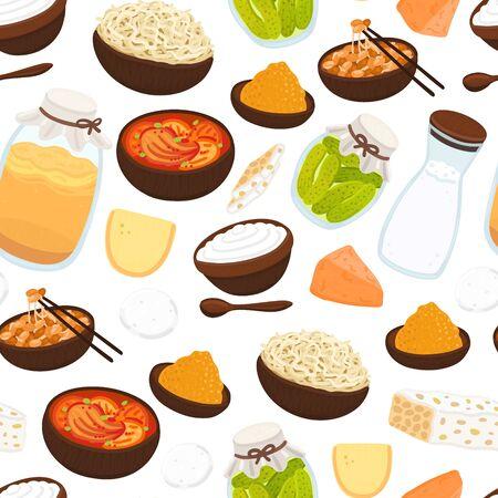 Vector seamless pattern with probiotic foods. Best sources of probiotics. Beneficial bacteria improve health. Background for label, header, brochure, menu, article about diet, healthy proper nutrition Ilustración de vector