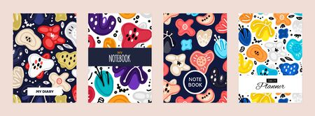 Set of cover templates with abstract flowers. Colorful artistic backgrounds with floral decorations. Designs is for notebook, planner, diary, poster, card. Size A4. Vector illustration, eps10