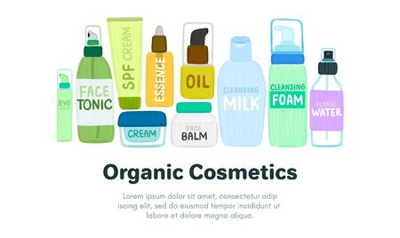 Organic or natural cosmetics. Many jars and bottles with cosmetic names. Facial skin care. Online store. Landing page template. Background is for banner, header, advertising, mailing list. Vector 写真素材 - 148216600