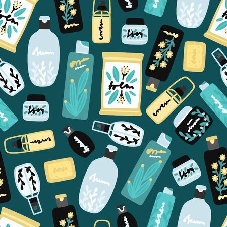 Vector seamless pattern with cosmetic products. Background with natural cosmetics. Beauty care. Flat hand drawn elements. Can be used to design a packaging bag, banner, header, cover, poster, wrapping Illusztráció