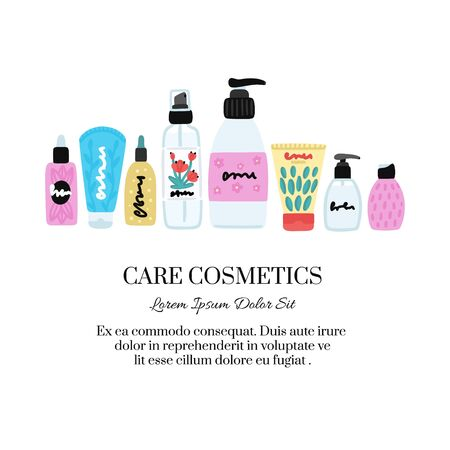 Vector cosmetic products. Natural cosmetics. Beauty care. Flat hand drawn elements is for advertising banner, post on social network, flyer, label, broshure, poster, website design for cosmetic store