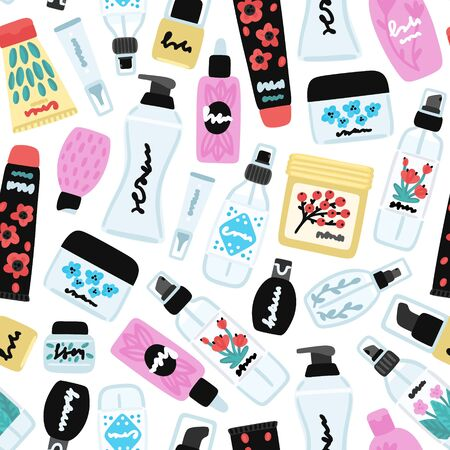 Vector seamless pattern with cosmetic products. Background with natural cosmetics. Beauty care. Flat hand drawn elements. Can be used to design a packaging bag, banner, header, cover, poster, wrapping 写真素材 - 148216610