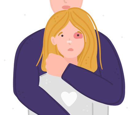 Woman with black eye in hands of man. Aggressor holds tightly scared girl. Concept is for crisis help center or for advocacy for womens rights. Landing page, poster, banner, brochure, Ilustracja