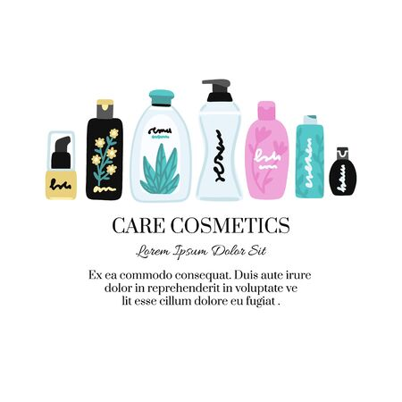 Vector cosmetic products. Natural cosmetics. Beauty care. Flat hand drawn elements is for advertising banner, post on social network, flyer, label, broshure, poster, website design for cosmetic store 写真素材 - 148503107