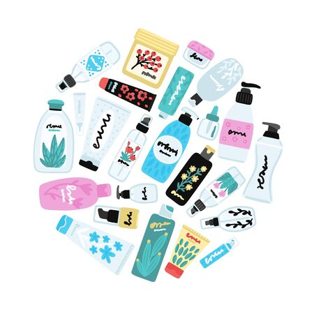 Vector cosmetic products. Natural cosmetics. Beauty care. Flat hand drawn elements is for advertising banner, post on social network, flyer, label, broshure, poster, website design for cosmetic store 写真素材 - 148717314