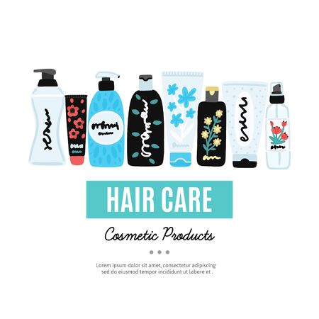 Vector cosmetic products. Natural cosmetics. Beauty care. Flat hand drawn elements is for advertising banner, post on social network, flyer, label, broshure, poster, website design for cosmetic store 写真素材 - 148717313