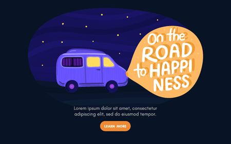 Van life concept. Night sky with stars. Campervan rides along road. In light of headlights there is lettering. Purple camper in movement. Design for landing page, banner, brochure, cover. Vector