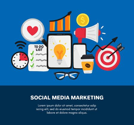 Vector smm elements. Social Media Marketing. Reach and promotion among target audience. Concept is for banner, advertising, mailing list, website, training presentation for marketers, posts, poster Ilustracja