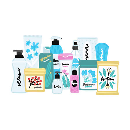Vector cosmetic products. Natural cosmetics. Beauty care. Flat hand drawn elements is for advertising banner