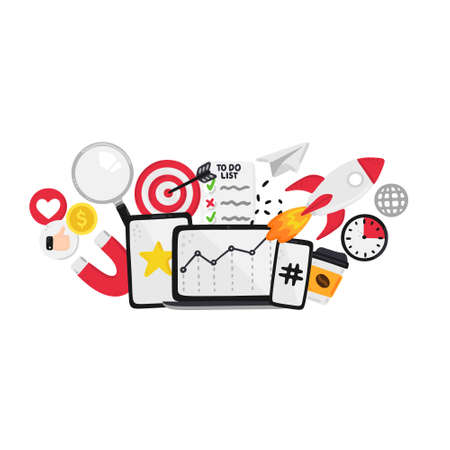 Vector smm elements. Social Media Marketing. Reach and promotion among target audience.