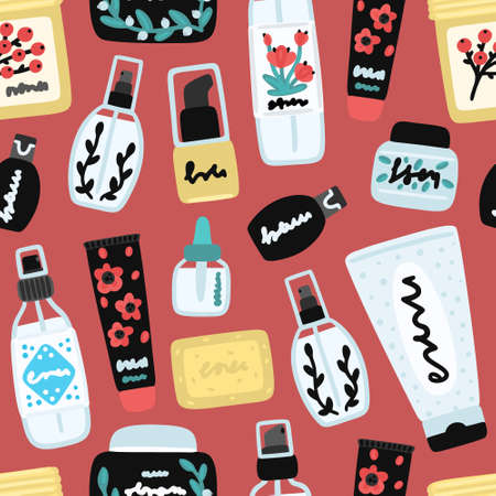 Vector seamless pattern with cosmetic products. Background with natural cosmetics. Beauty care. Flat hand drawn elements. Can be used to design a packaging bag, banner, header, cover, poster, wrapping Ilustracja