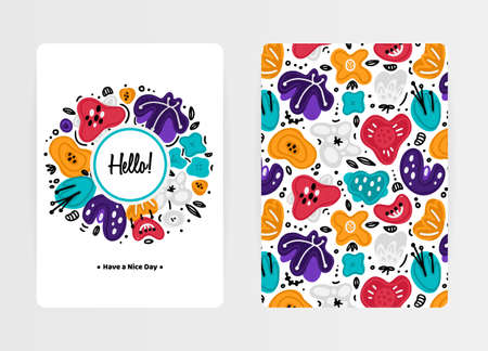 Cover design with floral pattern and round composition. Hand drawn abstract flowers. Colorful artistic background with spots. Invitation, card, cover book, notebook. Size A4. Vector illustration