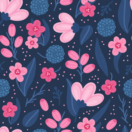 Floral seamless pattern. Hand drawn beautiful flowers. Colorful repeating background with blossom. Design for wallpaper, textiles, wrapping paper, cover notebook, header. Vector illustration, eps10 Ilustracja