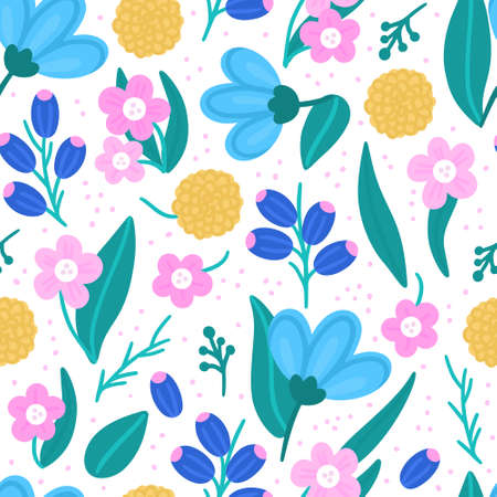 Floral seamless pattern. Hand drawn beautiful flowers. Colorful repeating background with blossom. Design for wallpaper, textiles, wrapping paper, cover notebook, header. Ilustracja