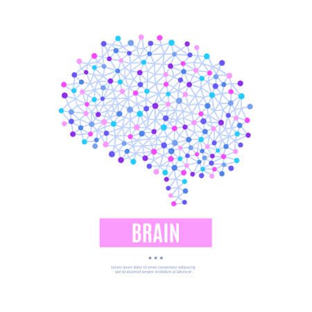 Concept of human brain. Illustration for label of medicine, advertisement poster or banner for psychologist or psychotherapist, design for website or article about mental health Ilustracja