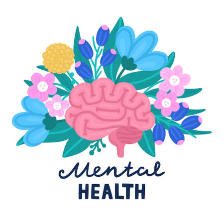 Vector healthy brain on flowers. Illustration for label of medicine, advertisement poster or banner for psychologist or psychotherapist, design for website or article about mental health