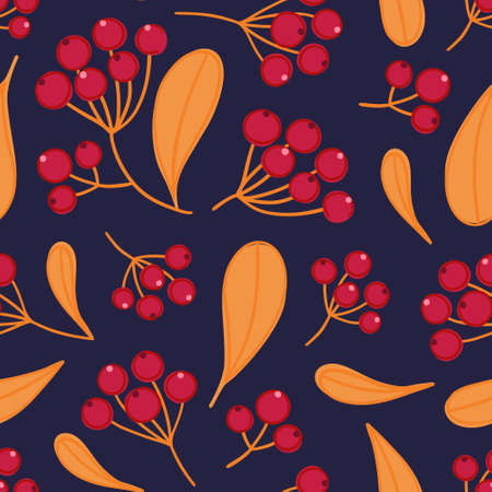 Floral seamless pattern with panicles of berries. Colorful repeating background with plant.