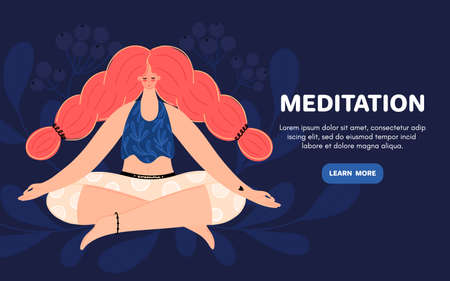 Meditating redhead woman. Concept of meditation. Girl with braids sits in the lotus position. Character design. Balance and harmony.