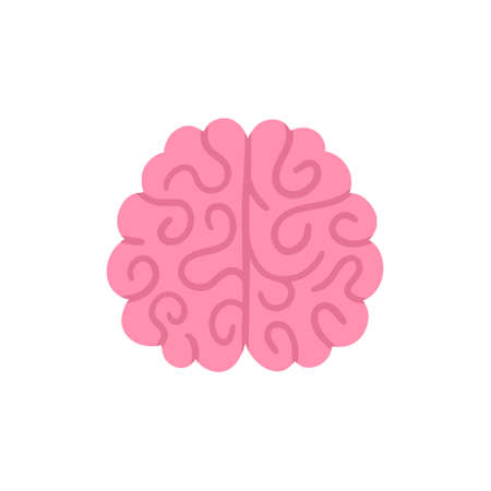 Vector isolated brain. Illustration for label of medicine, advertisement poster or banner for psychologist or department of neurology, design for website or article about mental health or neuroscience Ilustracja