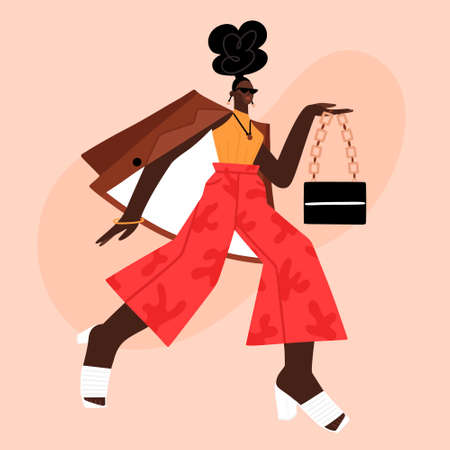 African American photo model at fashion show or photo shoot. Street style. Beautiful girl in fashionable clothes. Character design. Fashionista. Woman in red trousers, jacket and mules. Vector
