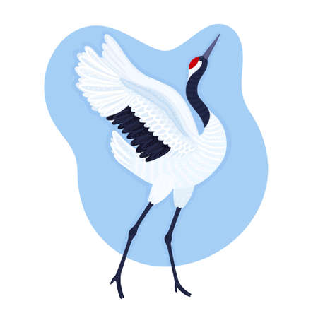 Red crowned crane. Endangered species. Blue background with dancing East Asian bird. Card, print on t-shirt and other apparel, cover, banner, poster, label. Vector illustration