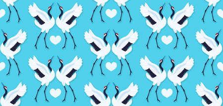 Seamless pattern with pair of red crowned cranes and heart. Repeating blue background with dancing East Asian birds. Love and romance. Valentines day design. Wallpaper, fabric, wrapping paper. Vector Ilustracja