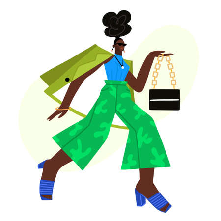 African American photo model at fashion show or photo shoot. Street style. Beautiful girl in fashionable clothes. Character design. Fashionista. Woman in green trousers, jacket and mules. Vector Ilustracja