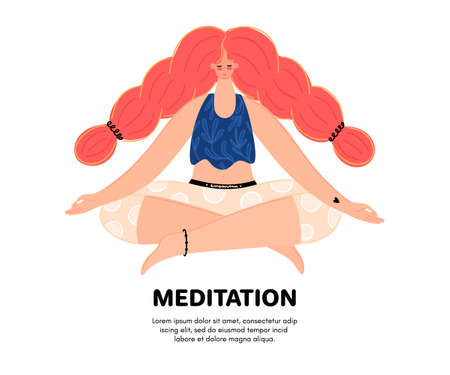 Meditating redhead woman. Concept of meditation. Girl with braids sits in the lotus position. Character design. Balance and harmony. Flat style. Banner, poster, advertising. Vector illustration, eps10