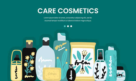 Vector cosmetic products. Natural cosmetics. Beauty care. Many jars and bottles. Facial skin care. Online store. Landing page template. Background is for banner, header, advertising, mailing list