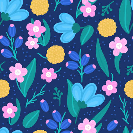 Floral seamless pattern. Hand drawn beautiful flowers. Colorful repeating background with blossom. Design for wallpaper, textiles, wrapping paper, cover notebook, header. Vector illustration, eps10  イラスト・ベクター素材