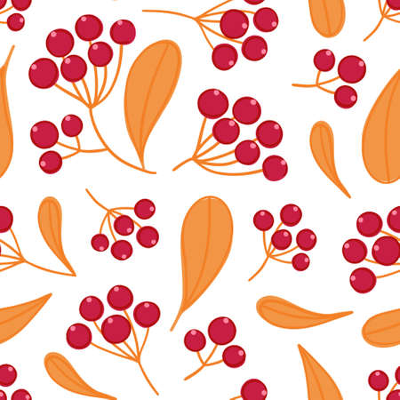 Floral seamless pattern with panicles of berries. Colorful repeating background with plant. Design for wallpaper, textiles, wrapping paper, cover notebook, header. Vector illustration, eps10