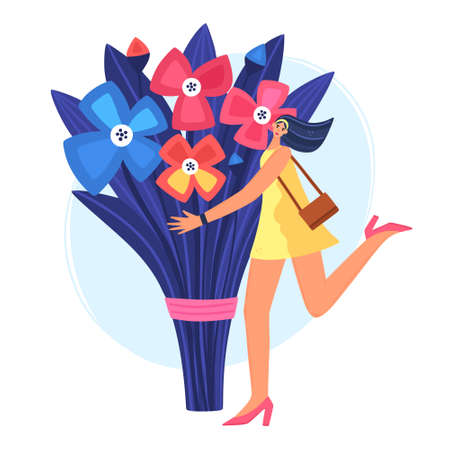 Beautiful and joyful girl holding huge bouquet of flowers. Disproportionate body. Trendy character design. Postcard or poster for International Womens Day, Birthday or Mothers Day. Book cover. Vector  イラスト・ベクター素材